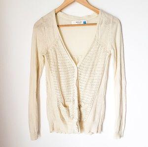 Sparrow | Linen Blend Crochet Button Cardigan